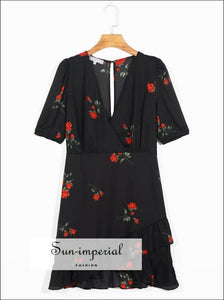 Black Vintage Rose Print Mini Dress V Neckline Summer SUN-IMPERIAL United States