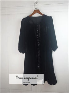 Black Vintage Velvet Loose Single-breasted V-neck 3/4 Sleeve Mini Dress Dresses, bohemian style, boho dress, dresses SUN-IMPERIAL United