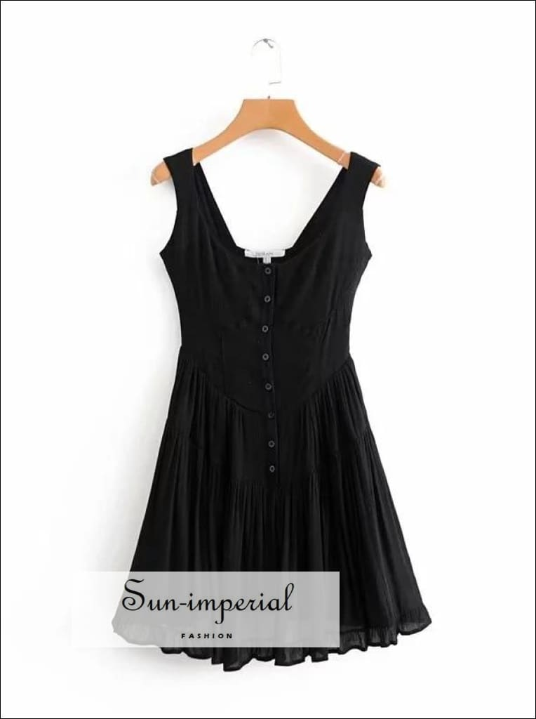 Black,white Solid Woman Mini A-line Dress Buttoned front Sleeveless Boho Dress
