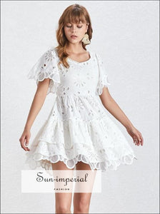 Blake Dress- Solid lace Casual A Line Women Dress Square Collar Short Sleeve Ruffle Dress Casual Ruffle Dresses Female Short Sleeve Square