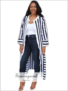 Block Stripe Slit side Kimono SUN-IMPERIAL United States