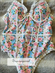 Blue and Pink Floral One Piece Swimsuit Vintage Lace Floral Print Swimwear