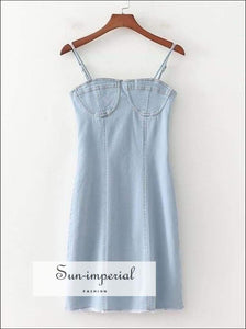 Blue Cami Strap Denim Dress Women Summer Elastic Slim Dresses Mujer Verano