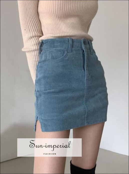 Blue Corduroy side Split Cord Mini Skirt with under Shorts detail SUN-IMPERIAL United States