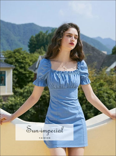 Blue Denim Ruffle Edged Square Neck Mini Dress with Puff Short Sleeve SUN-IMPERIAL United States