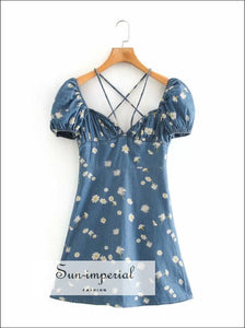 Blue Denim Short Puff Sleeve Mini Dress with Daisy Print Ruched Bust Corset Style Tie front Summer chick sexy style, SUN-IMPERIAL United