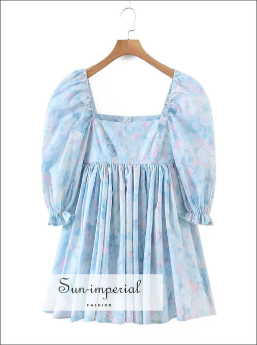 Blue Floral Print Short Puff Sleeve Square Neckline A-line Pleated Mini Dress A-Line Dress, bohemian style, boho harajuku Preppy Style