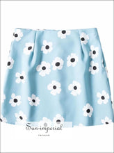 Blue Floral Print Slim High Waisted Short Mini Skirt