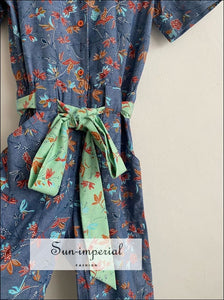 Blue Floral Print Women Jumpsuit Short Sleeve Turn-down Collar Tie Waist Women Jumpsuit