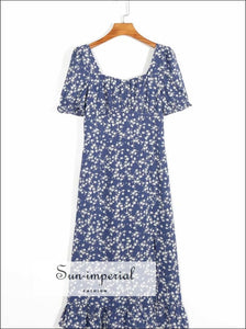 Blue Floral White Print Square Collar Summer Midi Dress with front Split SUN-IMPERIAL United States