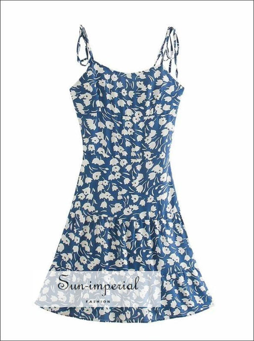 Blue Mini Dress Tie Cami Strap Ink Print A-line chick sexy style, vintage dress, style SUN-IMPERIAL United States
