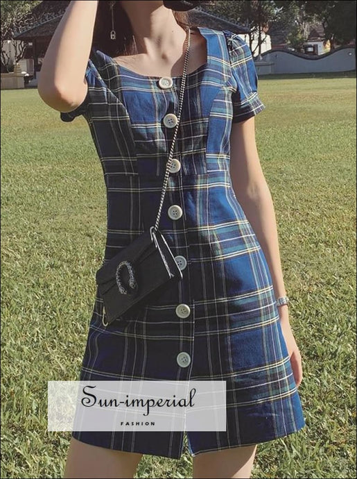 Blue Plaid Mini Dress Short Sleeve Buttoned front Square Neck
