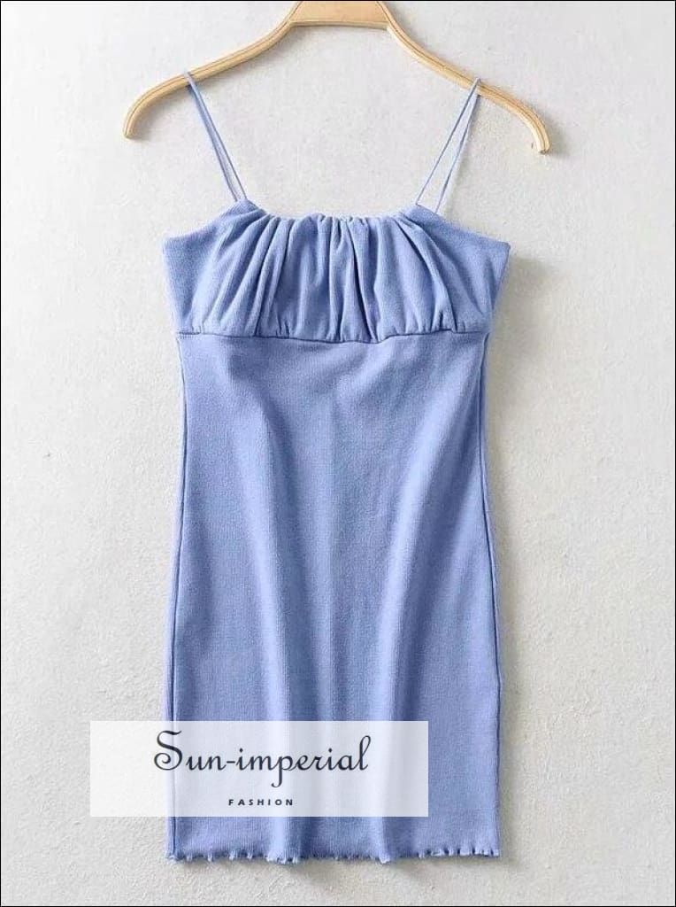 Blue Ruched Bust Mini Cami Dress Bodycon Fit