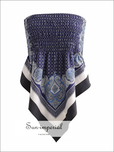 Blue Scarf Print Tie-back Bandana Tube top Tie-Back Top SUN-IMPERIAL United States