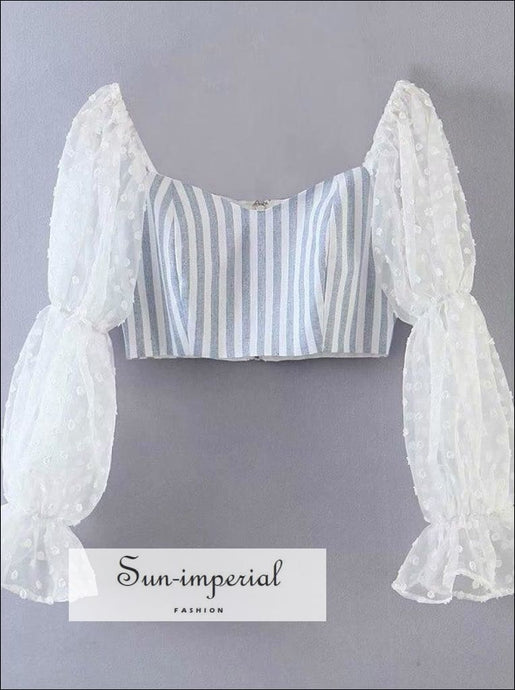 Blue Striped Cropped Blouse with Long White Mesh Dot Print Sleeve chick sexy style SUN-IMPERIAL United States