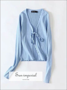 Blue Women Tie front Crop Rib Knit Cardigan