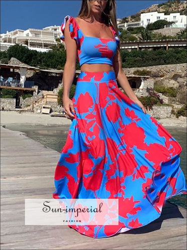 Boheme Style Multi Color 2 Piece Maxi Skirt Set SUN-IMPERIAL United States