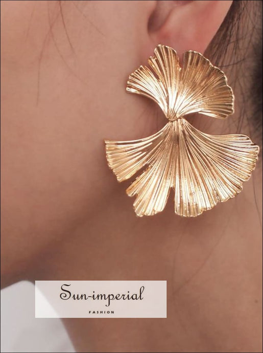 Bohemian Geometric Gold Color Leaf Shape Drop Earrings for Women Statement Earring