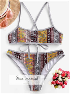 Bohemian Print Lace up Criss Cross Bikini Swimsuit Bikini Sets