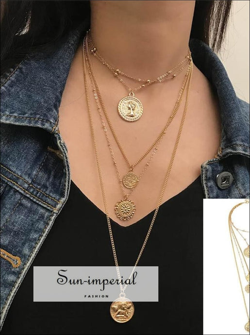 Boho Choker Necklaces Women Gold Star Round Coin Pendant Necklace Chain Bohemian Jewelry Vintage SUN-IMPERIAL United States