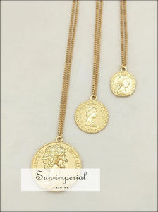 Bohomian Multilayer Necklace Women Round Coin Chain Pendant Women Charms