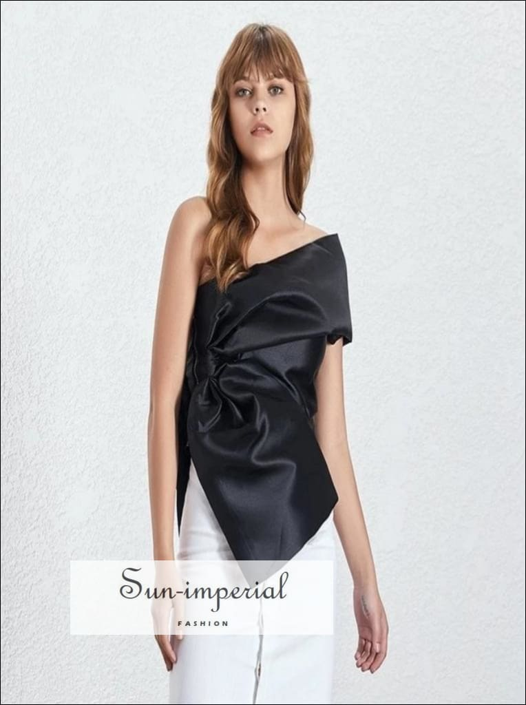 Bordeaux Top- elegant satin cold Shoulder Blouse asymmetrical Solid black silver gold top Off Shoulder Sleeveless Solid Shirt Solid Women