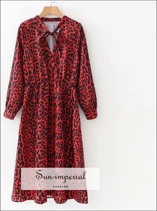 Bow Tie Collar Leopard Print Pleated Dress Red Animal Pattern Elastic Waist Long Sleeve Knee
