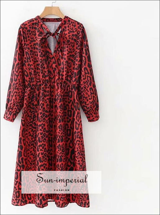 Bow Tie Collar Leopard Print Pleated Dress Red Animal Pattern Elastic Waist Long Sleeve Chic Knee Length Dresses SUN-IMPERIAL United States