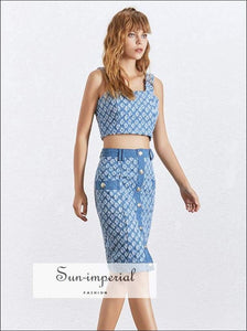 Brianna Skirt Set - Blue Embroidery Pencil Midi with Sleeveless Crop top ankle lenth skirt, blue, Sets, midid Mini SUN-IMPERIAL United