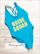 Bride Squad Letter Printing One Piece Swimsuit back Cross High Cut Women Swimwear Red Black Monokini