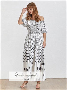 Brooke Dress- Summer Polka Dot Dress for Women Slash Neck Puff Sleeve High Waist Maxi Dresses, Dot, Sleeve, Neck, vintage SUN-IMPERIAL