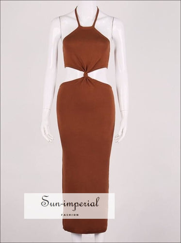 Brown Cut out Waist Heater s Party Maxi Dress bohemian style, boho Dress, chick sexy harajuku style SUN-IMPERIAL United States