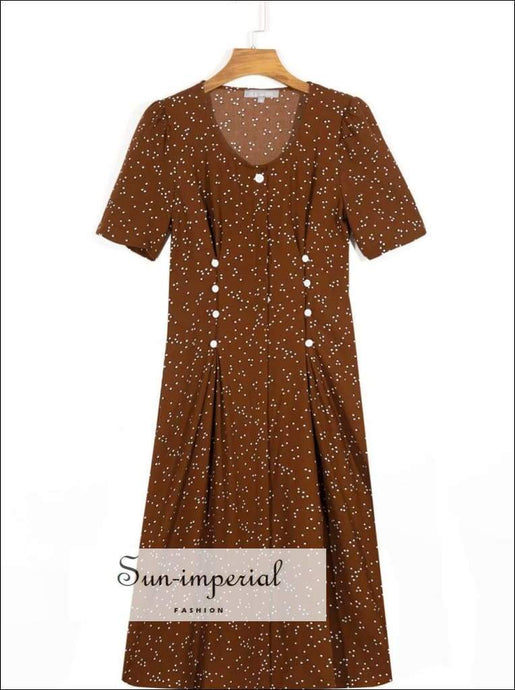Brown Polka Dot Vintage Short Sleeve Midi Dress brown, dot, dot print, dress, High quality dress SUN-IMPERIAL United States