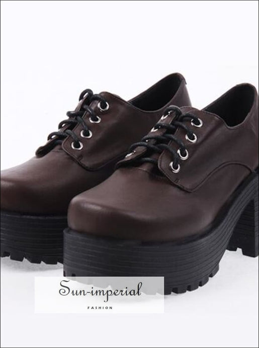 Brown Punk Lace up Oxfords Vegan Leather with Short Block Heel and Chunky Treaded Soles casual style, harajuku SHOES, Preppy Style Clothes,
