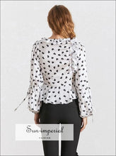 Brylee top - Vintage White Heart Print Blouse for Women V Neck Long Sleeve Drawstring Hook front