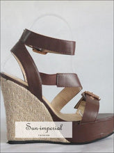 Buckled Espadrilles Strappy Platform Sandals Ankle Strap Wedges Heeled SUN-IMPERIAL United States