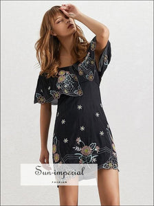Butterfly Dress- Summer Flower Embroidery Women Dress off Shoulder Slash Neck Short Sleeve High Bodycon Mini Dresses, Dress, Off Shoulder,