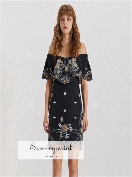 Butterfly Dress- Summer Flower Embroidery Women Dress Off Shoulder Slash Neck Short Sleeve High Waist Bodycon Mini Dress Bodycon Mini
