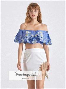Butterfly top - Summer Short Length Women's Shirt off Shoulder Slash Neck Sleeve Embroidery Blouse, Length, Neck, vintage, SUN-IMPERIAL