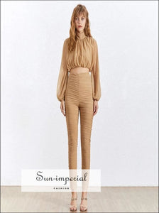 Sun-Imperial Cameron Two Piece Pants Set - Casual Two Piece Sets Women Turtleneck Puff Sleeve Tops High Waist