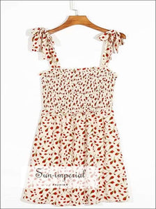 Cami Tie Strap Cream Mini Dress with Red Floral Print Shirred back a - Line chick sexy style, vintage style SUN-IMPERIAL United States