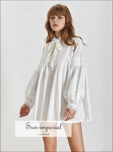 Camila Top- Solid White Embroidery Women Oversize Loose Blouse Stand Tie Collar Lantern Sleeve Pearl