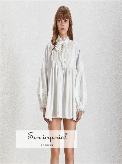 Camila Top- Solid White Embroidery Women oversize loose blouse Stand tie collar Lantern Sleeve Pearl Mini Dresses Female, Button,