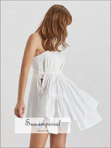 Camille top - Solid White and Yellow Sleeveless Strapless Women Ruched Asymmetrical Hem Tonic Fashion Clothes, Off Shoulder, Sleeveless,