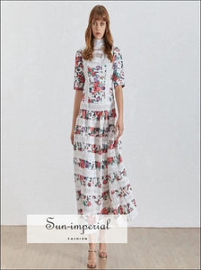 Cannes Dress -print Vintage Women Stand Half Sleeve High Waist Lace Patchwork Midi Waist, Patchwork, Dresses, Sleeve, SUN-IMPERIAL United