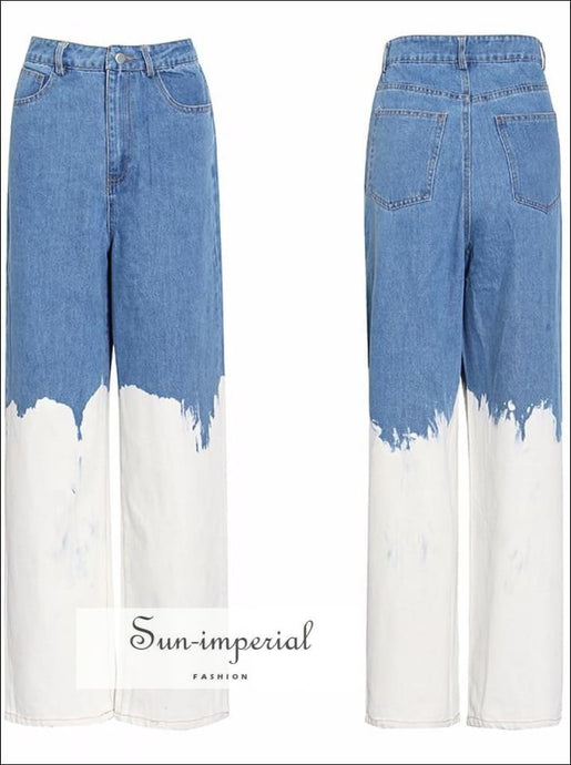 Casual Loose White Painted Women full Length Two Tone Denim Jeans High Waist Color Block Wide Leg street style, Unique style SUN-IMPERIAL