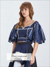 Catalina top - Vintage Elegant Blue Polka Dot Short Ruffle Sleeve Crop top for Women Square Neck