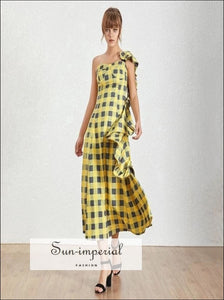 Cenon Dress - Yellow plaid Sleeveless Asymmetrical Maxi Dress One Shoulder High Waist Ruffles Plaid Midi Dress Asymmetrical Women Dress High