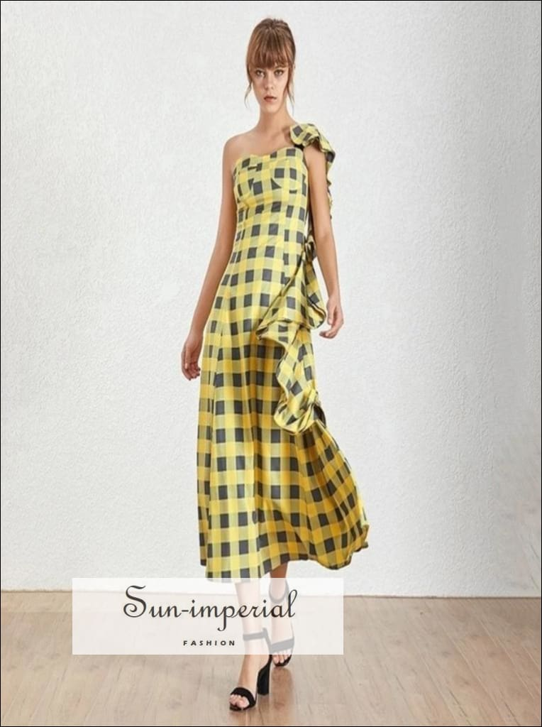 Cenon Dress - Yellow Plaid Sleeveless Asymmetrical Maxi Dress One Shoulder High Waist Ruffles Plaid