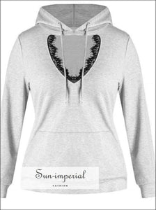 Chamsgend Women's Fashion Solid Color Lace Hollow Long-sleeved Hooded Sweater Loose Casual